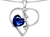 Original Star K Large 10mm Heart Shaped Created Sapphire Knotted Heart Pendant