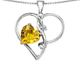 Original Star K Large 10mm Heart Shaped Simulated Yellow Sapphire Knotted Pendant