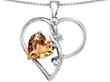 Original Star K™ Large 10mm Heart Shaped Simulated Imperial Yellow Topaz Knotted Heart Pendant