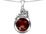 Original Star K™ Loving Mother And Father With Child Family Pendant With Round 10mm Simulated Garnet