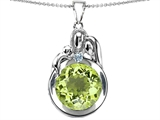 Original Star K™ Loving Mother And Father With Child Family Pendant With Round 10mm Simulated Peridot style: 304515