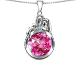 Original Star K™ Loving Mother And Father With Child Family Pendant With Round 10mm Created Pink Sapphire style: 304516