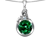 Original Star K™ Loving Mother With Child Family Large Pendant With Round 10mm Simulated Emerald