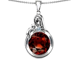 Original Star K™ Loving Mother With Child Family Large Pendant With Round 10mm Simulated Garnet