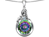 Original Star K Loving Mother With Child Family Large Pendant With Rainbow Round 10mm Mystic Topaz