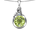 Original Star K™ Loving Mother With Child Family Large Pendant With Round 10mm Simulated Peridot