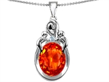 Original Star K™ Large Loving Mother Twin Children Pendant With Oval Simulated Orange Fire Opal 11x9mm