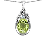 Original Star K™ Large Loving Mother Twin Children Pendant With Oval Simulated Peridot 11x9mm