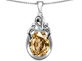 Original Star K™ Large Loving Mother Twin Children Pendant With Oval Simulated Imperial Yellow Topaz 11x9mm