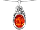 Original Star K™ Large Loving Mother Twin Family Pendant With Oval Simulated Orange Fire Opal 11x9mm