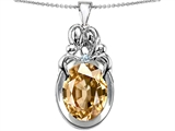 Original Star K™ Large Loving Mother Twin Family Pendant With Oval Simulated Imperial Yellow Topaz 11x9mm