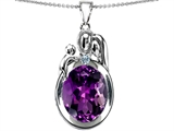 Original Star K™ Loving Mother And Father With Child Pendant With Oval 11x9mm Simulated Amethyst