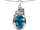 Original Star K™ Loving Mother And Father With Child Pendant With Oval 11x9mm Simulated Blue Topaz style: 304577