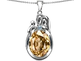 Original Star K™ Loving Mother And Father With Child Pendant With Oval 11x9mm Simulated Imperial Yellow Topaz