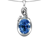 Original Star K™ Loving Mother With Child Family Pendant With Oval 11x9mm Simulated Aquamarine