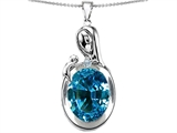 Original Star K™ Loving Mother With Child Family Pendant With Oval 11x9mm Simulated Blue Topaz style: 304594