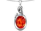 Original Star K™ Loving Mother With Child Family Pendant With Oval 11x9mm Simulated Mexican Fire Opal