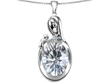 Original Star K™ Loving Mother With Child Family Pendant With Oval 11x9mm Genuine White Topaz