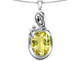 Star K™ Loving Mother With Child Family Pendant Necklace With Oval 11x9mm Simulated Yellow Sapphire style: 304606