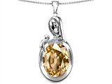 Original Star K™ Loving Mother With Child Family Pendant With Oval 11x9mm Simulated Imperial Yellow Topaz