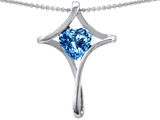 Original Star K™ Christian Cross Of Love Pendant With 8mm Heart Shape Genuine Blue Topaz