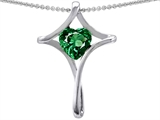 Original Star K™ Large Christian Cross Of Love Pendant With 8mm Heart Shape Simulated Emerald