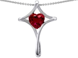 Original Star K™ Large Christian Cross Of Love Pendant With 8mm Heart Created Ruby style: 304635