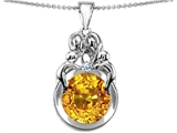 Original Star K™ Large Loving Mother And Family Pendant With Simulated Round Citrine