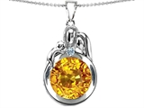 Original Star K™ Loving Mother And Father With Child Family Pendant With Round Simulated Citrine