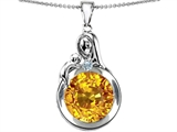 Original Star K™ Loving Mother With Child Family Pendant With Simulated Round Citrine