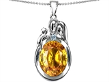 Original Star K™ Loving Mother And Father With Child Pendant With Simulated Oval Citrine