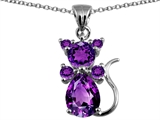 Original Star K Cat Pendant With Genuine Amethyst