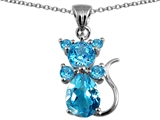 Original Star K Cat Pendant With Genuine Blue Topaz