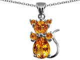 Original Star K Cat Pendant With Genuine Citrine