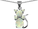 Original Star K Cat Pendant With Created Opal