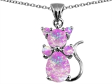 Original Star K Cat Pendant With Created Pink Opal