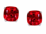 Tommaso Design 7mm Cushion Cut Created Ruby Earrings Studs