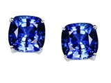 Tommaso Design™ 7mm Cushion Cut Created Sapphire Earrings Studs