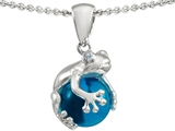 Original Star K Frog Pendant With 10mm Simulated Blue Topaz Ball
