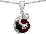 Original Star K Frog Pendant With 10mm Simulated Garnet Ball