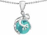 Original Star K Frog Pendant With 10mm Simulated Aquamarine Ball