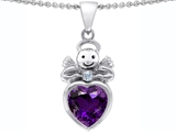 Original Star K Love Angel Pendant With 10mm Simulated Amethyst Heart