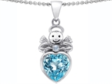 Original Star K Love Angel Pendant with 10mm Simulated Aquamarine Heart