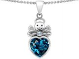 Original Star K Love Angel Pendant With 10mm Simulated Blue Topaz Heart