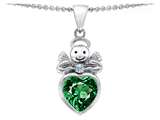 Original Star K Love Angel Pendant with 10mm Simulated Emerald Heart