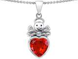 Star K™ Love Angel Pendant Necklace with 10mm Simulated Orange Mexican Fire Opal Heart style: 304699