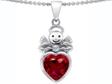 Star K™ Love Angel Pendant Necklace with 10mm Created Ruby Heart style: 304705