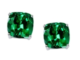 Tommaso Design 7mm Cushion Cut Simulated Emerald Earrings Studs