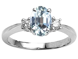 Tommaso Design™ Genuine Aquamarine 9x7mm Oval Engagement Ring
