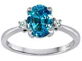 Tommaso Design 8x6mm Oval Genuine Blue Topaz and Diamond Engagement Ring